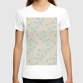 Aquamarine Beige Butterfly and Scroll Pattern Color of the Year Aqua Fiesta and Sourdough T-shirt