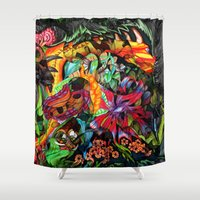 jazzberry Shower Curtains featuring Just another day in the jungle by Donuts