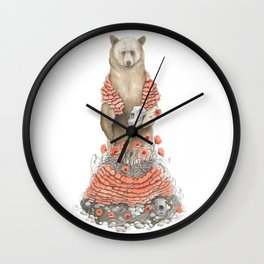 The Bear and the Poppies Wall Clock