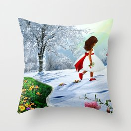 Here comes the Spring Throw Pillow