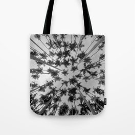 Above Palm Trees (Black and White) Tote Bag