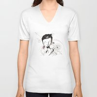 human V-neck T-shirts featuring Human by Ianah Maia