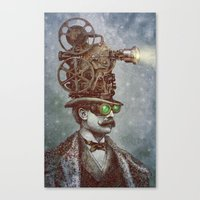 pixel Canvas Prints featuring The Projectionist (colour option) by Eric Fan