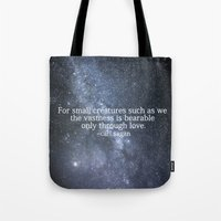carl sagan Tote Bags featuring Carl Sagan and the Milky Way by Astrophotos by McLeod