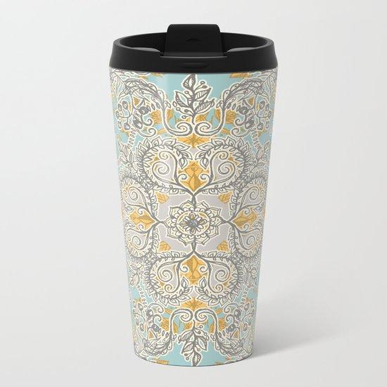 Gypsy Floral in Soft Neutrals, Grey & Yellow on Sage Metal Travel Mug