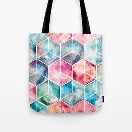Translucent Watercolor Hexagon Cubes Tote Bag