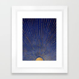 Twilight / Blue and Metallic Gold Palette Framed Art Print