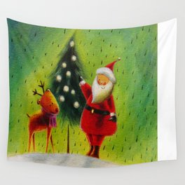 Santa and his Reindeer Wall Tapestry