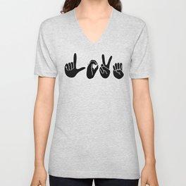Love Signs (black & white) Unisex V-Neck