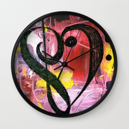 Treble Heart Clef In Pink Wall Clock