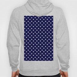 White & Blue Navy Polkadot Pattern Hoody