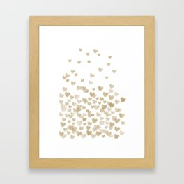 Gold Glitter Hearts - White Background for Valentines Day, Love, Bokeh, for trendy girls cell phone Framed Art Print
