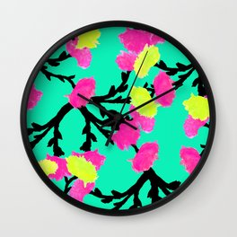 Watercolor Roses Pink Yellow Wall Clock