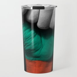 Bulgarian Flag on a Raised Clenched Fist Travel Mug