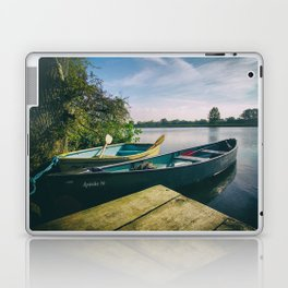 Canoe and Row Boat tethered on the River Thames Laptop & iPad Skin