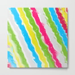 Abstract Painting Rainbow Lines Metal Print