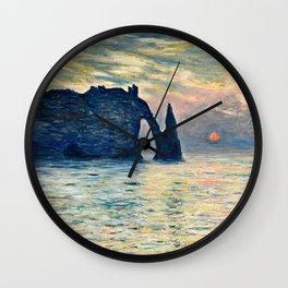 Claude Monet - The Cliff, Etretat, Sunset Wall Clock