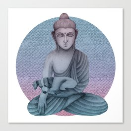 Buddha with dog2 Canvas Print
