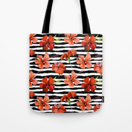 Hibiscus flower and stripes pattern Tote Bag