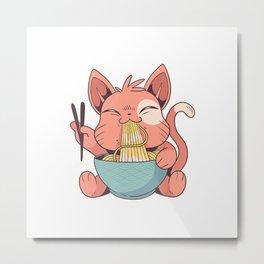 Vaporwave Aesthetic Waifu Ramen Cat Kawaii Japanese Anime T-Shirt Metal Print