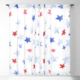 Red and Blue stars 4th of July watercolor design Blackout Curtain