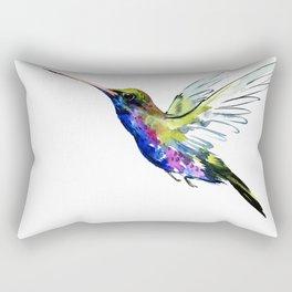 Flying Hummingbird, Blue green wall art minimalist bird Rectangular Pillow