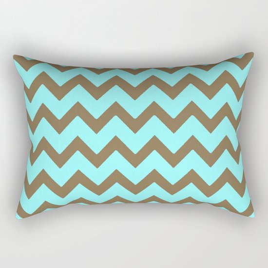 Mocha Mint Frappuccino Chevron Rectangular Pillow