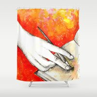 writing Shower Curtains featuring Inky hands11-Writing  by Anca Chelaru