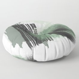 Green Mint Black Gray Abstract painting -1, Nirvana Decorative abstraction, Floor Pillow