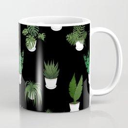 Houseplants Illustration (black background) Coffee Mug