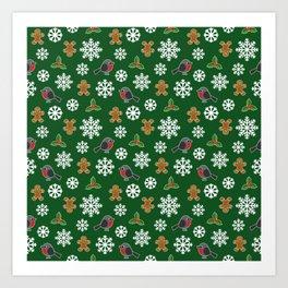 Christmas / Winter Robin Holly Gingerbread Man Snowflakes Pattern Green Art Print
