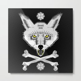 Silver Fox Geometric Metal Print
