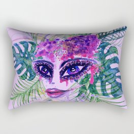 Purple Woman with Tropic leaves Rectangular Pillow