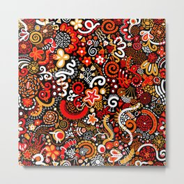 Orange Red Black Zendoodle Metal Print