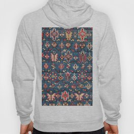 Cobalt Blue Khyrdagyd // 19th Century Authentic Colorful Yellow Red Aztec Butterfly Accent Pattern Hoody
