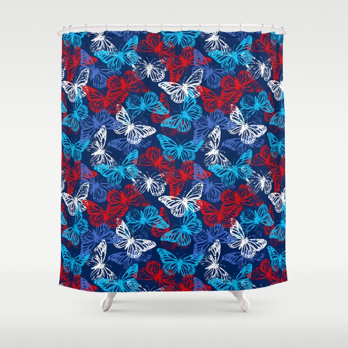 Red White and Blue Patriotic Butterflies Shower Curtain