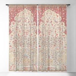 Kashan Central Persian Rug Print Sheer Curtain