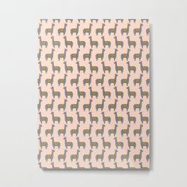 Llama Momma on Peach Metal Print