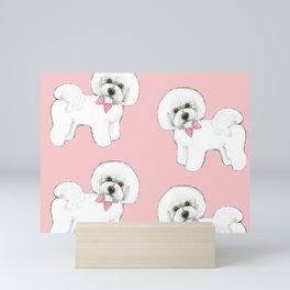 Bichon Frise pink bows christmas holiday themed pattern print pet friendly dog breed gifts Mini Art Print