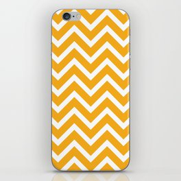 orange, white zig zag pattern design iPhone Skin