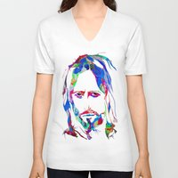 jesus V-neck T-shirts featuring Jesus by DApple