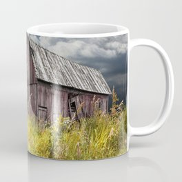 Weathered Wooden Barn with Water Pump and Metal Bucket Coffee Mug