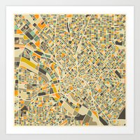 dallas Art Prints featuring Dallas Map by Jazzberry Blue
