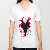 tokyo ghoul V-neck T-shirts featuring Kaneki Tokyo Ghoul 4 by Prince Of Darkness