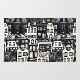 Mansard Village in Black + White Watercolor Rug