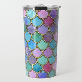 Colorful Gold Mermaid Scales Travel Mug
