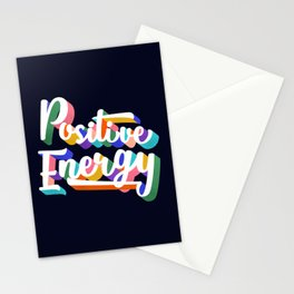 Positive Energy- typography Stationery Cards
