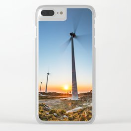 Wind farm by sunset Clear iPhone Case
