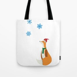 Christmas Fox watching falling Snowflakes Tote Bag