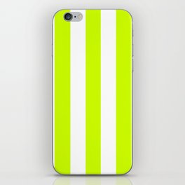 Volt green - solid color - white vertical lines pattern iPhone Skin